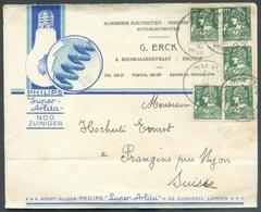 LAMPE PHILIPS Super Arlita Nog Zuiniger  - Belgique Belgium Lettre Illustrée Affr. MERCURE Obl; Sc BRUGGE 3 Vers Prangin - Timbres
