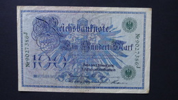 Germany 100 Mark 1908-02-07  - P 34 / Ro 34 - KN  9027386 J - XF - Look Scan - [ 2] 1871-1918 : German Empire