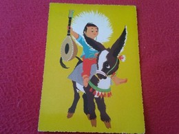ANTIGUA POSTAL ED KRUGER ALEMANIA FEDERAL DIBUJO BURRITO BURRO DONKEY BOY NIÑO GUITARRA AÑOS 60 70 ? POST CARD VER FOTOS - Burros