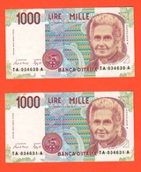 1.000 1000 Lire Montessori  Numeri CONSECUTIVI - [ 2] 1946-… : Républic