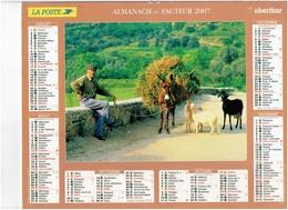 Lot 3 Grand Calendrier P.T.T. Facteur 2007-1984-1985 Chèvre âne Cheval Veau Canard NICOLE DELVAL Lapin Rhubarbe Foin - Calendars