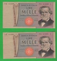 1.000 1000 Lire Verdi II° Tipo 1975 Numeri CONSECUTIVI - [ 2] 1946-… : Républic