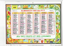 Grand Calendrier 1985 Jeu De L'oie FRUITS Et LÉGUMES Champignon Dé POMME GIROLLE Avocat Raison Potiron Noisette Asperge - Calendars