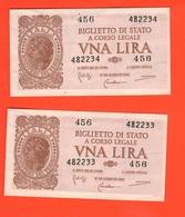 2 X 1 Lira 1944 RSI Numeri CONSECUTIVI - Italia – 1 Lira