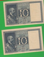 2 X 10 Lire 1944 Imperiale Numeri CONSECUTIVI - Regno D'Italia – 10 Lire