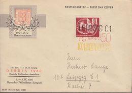 DDR Mi Nr.260 Debria 1950 Auf Ersttagsbrief 23.8.1950 Mit Dreifarbenstempel - DDR