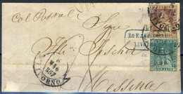 Toscana 1857 SA Bel Piego Da Livorno A Messina 'Col Postale' Con N. 4f E N. 5e Firme Biondi E A. Diena Cat. € 1600 - Toscane