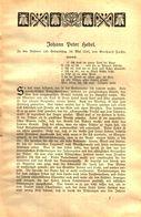 Johann Peter Hebel / Druck, Entnommen Aus Kalender / 1910 - Livres, BD, Revues