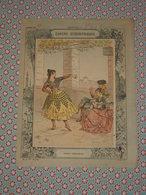 Couverture Illustrée D'ancien Cahier D'écolier - Danse Andalouse - Carte Espagne Portugal Cahiers Géographiques Fin 19e - Blotters