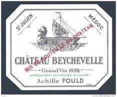 Etiquette Neuve -Château BEYCHEVELLE 1954 Achille Fould - Bordeaux