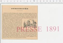 Presse 1891 Partie Jeu D'échecs Mohamed VI Roi Grenade Salobrena Jusef Et Alcade De La Prison Histoire Espagne 216CHV6 - Vieux Papiers