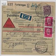 1931 Paketkarte 343, 414 - Stempel: Furtwangen Via Singen To Luzern 22.5.31 - Germania