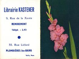 Calendrier Petit Format 1965 - Librairie Kastener, 9 Rue De La Xavée, Remiremont - Tél: 2.93 - 35 Rue Liétard Plombières - Calendriers
