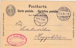 Postkarte 5 Rp Grau Gelaufen Und Abgestempelt  Von Zürich. N H. Buchsee Am 21.V. 1895. S.J. Bloch Söhne Zürich - Entiers Postaux