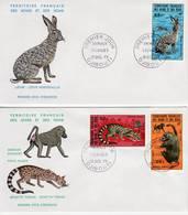 Afars Et Issas, 1973, Animaux Sauvages, Babouin, Genette Migraine, Lièvre, PA 94, 95, 96. FDC 12 Décembre 1973 Djibouti - Stamps