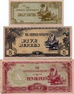 BIRMANIA-BURMA-1/2,5,10 RUPEES 1942 P-13,15,16 - Billets