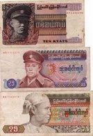 BIRMANIA-BURMA-10,35,75 KYATS- 1973,85,86-  P-58,63,65 - Banconote