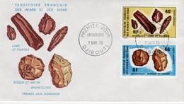 Afars Et Issas, 1973, Archéologie, Lames Et Pointes, Disque Et Haches, PA 89, 90, FDC 7 Septembre 1973 Djibouti - Stamps