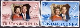 TRISTAN DA CUNHA 1972 SG #174-75 Compl.set MNH Royal Silver Wedding - Tristan Da Cunha
