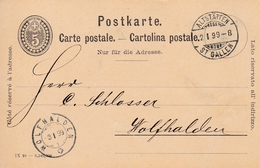 Postkarte 5 Rp Grau Gelaufen Und Abgestempelt  Von  ALTSTÄTTEN N. WOLFHALDEN Am 2-3.I.1899 - Interi Postali