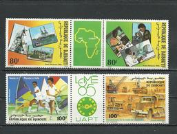 DJIBOUTI Scott C214a, C219a Yvert PA218a, PA223a (4) ** Cote 10,00 $ 1985 - Djibouti (1977-...)