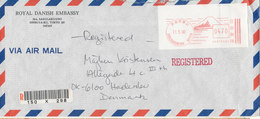 Japan Registered Air Mail Cover With Meter Cancel 11-5-1990 (Royal Danish Embassy) - Poste Aérienne