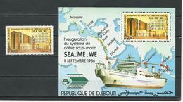 DJIBOUTI Scott 621, 622 Yvert 627, BF5 (4) ** Cote 11,00 $ 1986 - Djibouti (1977-...)