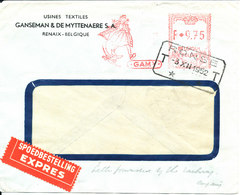 Belgium Express Air Mail Cover With Meter Cancel  Ronse 3-12-1952 - Airmail