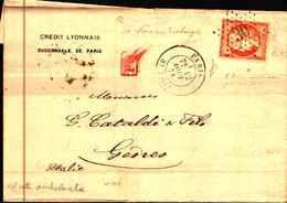 87538) Lettera Con 40c.ceres Da Parigi A Genco Il 12/8/1874 Ann.stella Cifra Grande,PD In Rettangolo E Ambulante - 1850-68 Regno: Isabella II