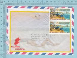 Nouvelle Calédonie - Envelope Lettre Femme Sein Nu, Air Mail Bourail 1989, To Canada - Nouvelle-Calédonie