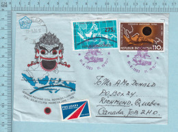 Indonesia  -  Air Mail Sticker, FDC  Envelope, 11-06-1983, Send To Canada - Indonesia