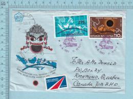 Indonesia  -  Air Mail Sticker, FDC  Envelope, 11-06-1983, Send To Canada - Indonésie
