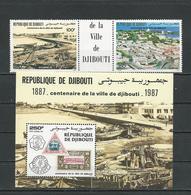 DJIBOUTI Scott C236a, C237 Yvert PA240a, BF7 (2+bloc) ** Cote 11,50 $ 1987 - Djibouti (1977-...)