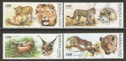 Burkina Faso 1996 Mi# 1437-1440 Used - Wild Cats - Felinos