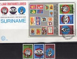 Unabhängigkeit 1980 Surinam 923/5+Block 27 FDC 22€ 5Jahre Stamps On Stamp Bloc Ss History Cover Sheet Bf Philatelic - Surinam