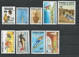DJIBOUTI Scott 634-641 C239 Yvert 639-0, 641, 642, 643, 644, 645, 646, PA242 (9) ** Cote 14,50 $ 1988 - Djibouti (1977-...)