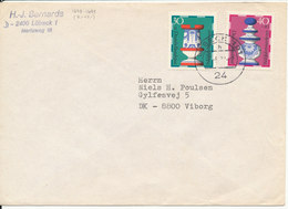 Germany Air Mail Cover Sent To Denmark Lübeck 1972 ?? With CHESS Stamps - Chess