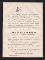 BRUXELLES ANNEVOIE Marie-Catherine De BRUYN D'HOVORST Veuve Baron DESMANET De BOUTONVILLE 1798-1879 Van OUTHEUSDEN - Avvisi Di Necrologio