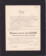 AFSNE-lez-Gand Marie FRAEYS épouse Julien Van EGEREN Bruges 1844 Ixelles 1909 - Avvisi Di Necrologio