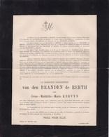REETH PULLE Irène KERVYN Baronne Van Den BRANDEN De REETH 1846-1921 Famille LE GRELLE - Avvisi Di Necrologio