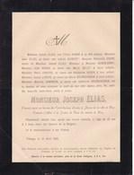 TIHANGE Joseph ELIAS 25 Ans 1890 Commis-greffier Justice De Paix HUY Familles HUBIN DUMONT BELOT BOURGUIGNON JINKERS - Avvisi Di Necrologio