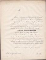 IXELLES AVIZE Auguste LECUREUX 42 Ans 1855 Ancien Préfet Du Département De La MARNE époux DONCKIER De DONCEEL Champagne - Avvisi Di Necrologio