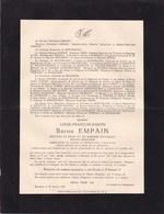 ENGHIEN TONGRE-NOTRE-DAME Baron Louis EMPAIN 1862-1935 Ancien Sénateur Enterré à Enghien HARMANT De RAMAIX - Avvisi Di Necrologio