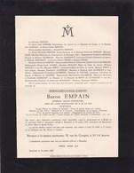 EVERE BELOEIL Edouard Baron EMPAIN 1852-1929 Général Major Honoraire Aide De Camp Roi Des Belges Albert Ier - Avvisi Di Necrologio