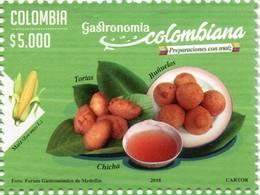 Lote 2018-4, Colombia, 2018, Sello, Stamp, 4v, Gastronomía Colombiana, Gastronomy, Corn, Food, Maiz - Colombia