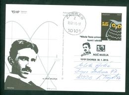 Croatia 2015 Post Card Tesla R Letter The Night Of Museums - Croatia