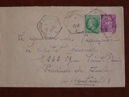 Cad Hexagonal Cuirassé Lorraine 11/1948, Sur Lettre à Destination Canada - Posta Marittima