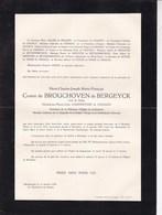 BEVEREN-WAAS BURDINNE Henri-Charles De BROUCHOVEN De BERGEYCK Veuf CARPENTIER De CHANGY 1876-1954 LAMONTZEE - Avvisi Di Necrologio