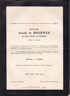 SAINT-JOSSE UCCLE Marie-Thérèse De CONINCK épouse Joseph De BROUWER 1885-1948 Faire-part 2 Volets Complets - Avvisi Di Necrologio