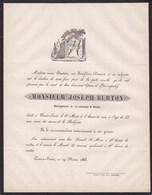 SOVET Bourgmestre Joseph BURTON 55 Ans 1863 Famille DEWART De Croix-Sovet Faire-part Mortuaire Région CINEY - Avvisi Di Necrologio